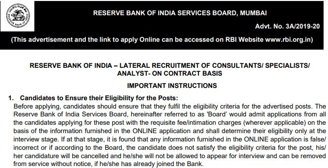 RBI Recruitment Consultant, Expert, Analyst Online Form 2020